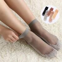 Women Crystal Silk Short Ankle Sock Chiffon Transparent Thin Flower Lace Socks