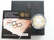 2008 Juegos Olímpicos ENTREGA Piedfort Dos Libras De Plata Prueba Moneda Caja
