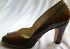 Vintage 1930s Reptile Leather Peep Toe Seymour Troy Woman's Shoes Size 7