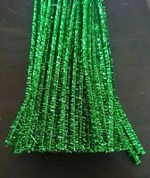 50 x GREEN Tinsel Metallic Jumbo Craft Pipe Cleaners Chenille Stems 30cm x 6mm