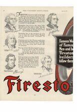 VINTAGE 1917 FIRESTONE TIRE FAMOUS MEN FRANKLIN JACKSON HANCOCK LINCOLN AD PRINT