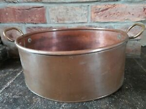 VINTAGE  COPPER AND BRASS JAM PAN TROUGH CASSEROLE STEW  KITCHEN COLLECTABLE