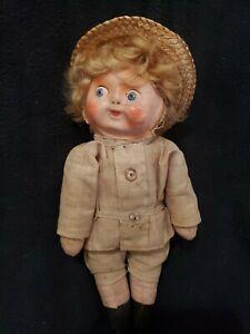 "Adorable 8 1/2"" Antique Paper Mache Mask Face Cloth Googly Doll"