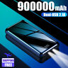 900000mAh 2USB External Power Bank Portable LCD&LED Fast Charger for Cell Phone