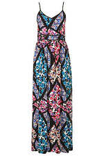 Topshop Floral Cutabout Maxi Dress 8 36 Slit Side Strappy White Blue Pink New