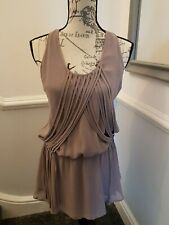 Ladies Warehouse Sleeveless Mink Coloured Chiffon Top Blouse Size 12 New