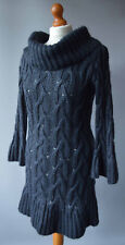 Ladies M&S Limited Collection Grey Mohair Mix Cableknit Jumper Dress Size UK 10