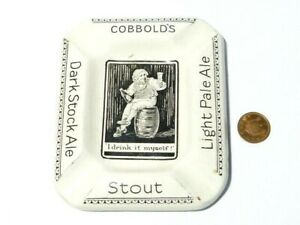 Cobbold's BEER Novelty Pictorial I Drank It Myself Advertising Pottery Ashtray