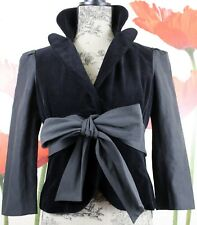 Robert Rodriguez Women's Belted Velvet Cropped Blazer Jacket, Black Size 4