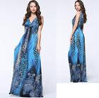 New Women lady Summer Long Maxi Boho Beach Plus Size Print V Leopard dress