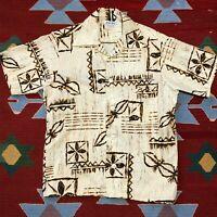 Vintage 70s Bark Cloth Hawaiian Shirt Island M Tiki Tribal 100% Cotton