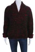 Dolce & Gabbana Womens Thick Knit V Neck Sweater Red Black Wool Size Small