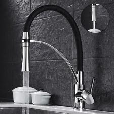 Chrome Deck Mount Kitchen Sink Brass Faucet Hose Pull Down Mixer Taps WELS