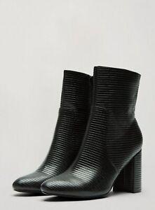 Miss Selfridge Womens Black Bamboo Boots High Block Heel Classic Modern Shoes
