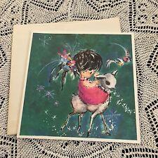 Vintage Greeting Card Christmas Cute Girl Sheep Snow Flair