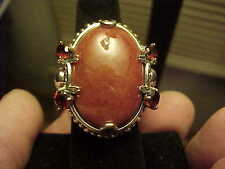 Wonderful Massive RED Oval Jade HSN Sterling Silver Garnet Buddha Ring Many Szs