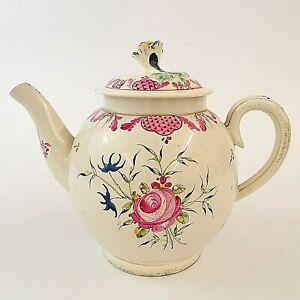 Lowestoft  Teapot Bullet Shaped Porcelain Creamware Floral Decorated Antique