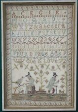 Small ANTIQUE NEEDLEWORK SAMPLER by FLORA B. PAGE 1872