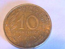 1972 Bronze Republique Francaise 10 Centimes Coin France