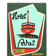 "Hotel ""Avas"" Miskolc Hungary 1940's/50's Luggage 3""x4"" Label/Sticker USED Rare"