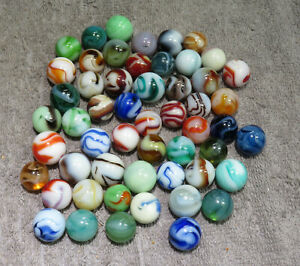 """GROUP OF 50 PENNSBORO ALLEY AGATE MARBLES 19/32"""" - 23/32""""   W104"""