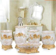 5PCS Bathroom Accessory Set Cup Toothbrush Holder Soap Dish Tumbler  White