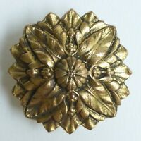 Bouton ancien - Laiton doré - 35 mm - vintage gilt brass button 1-3/8 in.