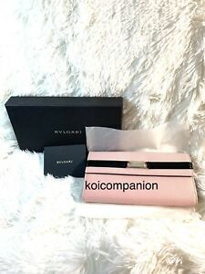 100% Authentic NEW BVLGARI Canvas Leather Pink Trifold Long Wallet W/Box