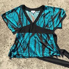 "MILLERS ""Rainforest Leaves"" Teal & Green Women's Stretch Fashion Top (Size 20)"
