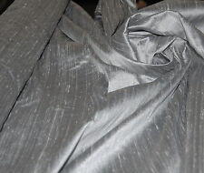100% Natural Silk Dupioni Fabric Silver Pure Luxurious Textured BY THE YARD SALE