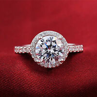 4Ct 925 Sterling Silver Simulated Cz Halo Round Cluster Engagement/Dress Ring