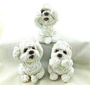 Three Wise Westies See Hear Speak No Evil Statue Ornaments West Highland Terrier