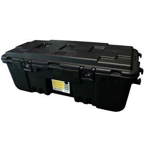 Plano Military Outdoor Storage Trunk Locker Box, Black, Lockable w/ Wheels