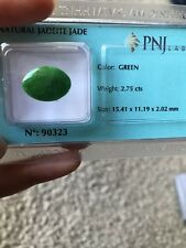 Jadeite Jade Oval Cabachon 15.41x11.19x2.02mm Green fine natural color.