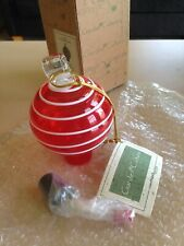 Hummingbird Feeder, Art Glass, Red w/thin White Stripe - New