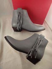 NIB Valentino Rockstud Grey Pebbled Leather Fringe Short Ankle Boots 35 $1195