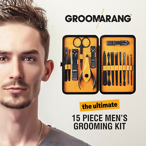 15 PC Mens Pro Steel Manicure Nail Clipper Set Male Pedicure Travel Grooming Kit