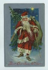 Early Christmas Tuck Embossed Postcard Santa Claus Red Suit Long Beard yz4407