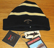 New Paul & Shark Stripe Anchor Logo Beanie 100% Wool Made in Italy Superb qualit