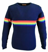 Mens Navy Retro Indie Mod 60s Rainbow Jumper