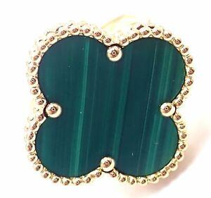 Authentic Van Cleef & Arpels Magic Alhambra 18k Yellow Gold Malachite Ring