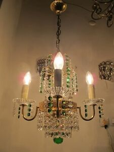 By Palwa Brass & Real Swarovski Crystal chandelier lamp ceilling light 1960s RRR