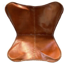 Leather Living Room Chairs Cover-Butterfly Chair Brown Handmade (Only Cover)