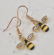 Bumble Bee Rhinestone Hook/Dangly Earrings