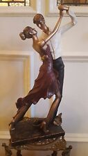 ART DECO BRONZE PINK DRESS LADY MAN DANCER ELEGANT FIGURINE STATUE VINTAGE 48 CM