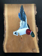 Vintage 1980 Duck Mallard Bird Art Painting on Live Edge Rustic Wood SIGNED