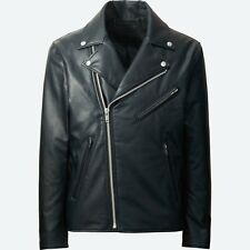UNIQLO 'Faux Leather' Men's Double-Breasted Biker/ Rider/ Moto Jacket M Blk NWT!
