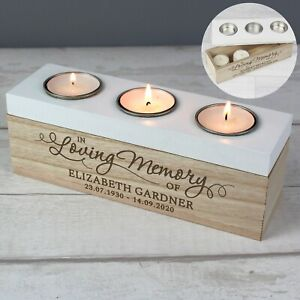Personalised In Loving Memory Wooden Triple Tea Light Candle Holder Remembrance