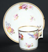 Royal Crown Derby - Antique Handpainted Floral Coffee Cup and Saucer - c1820