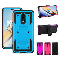 For One Plus 6T Armor Case Cover With Kickstand Belt Clip + Screen Protector